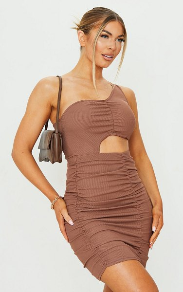 PrettyLittleThing ribbed one shoulder ruched cut out bodycon dress in chocolate