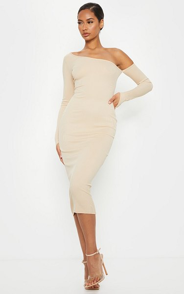 PrettyLittleThing ribbed one shoulder sleeve detail midi dress in sand