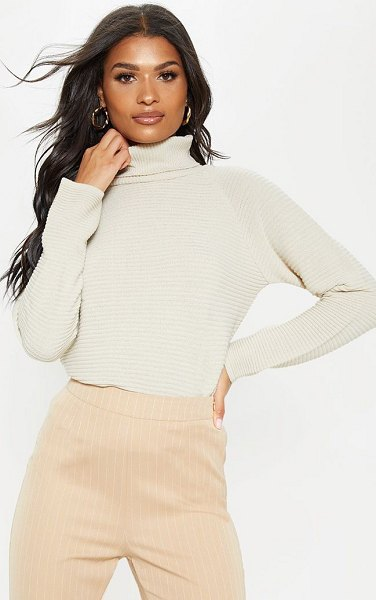PrettyLittleThing ribbed oversized knit jumper in stone -  nAdd some neutral hues to your wardrobe with this...
