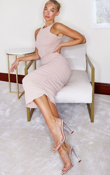PrettyLittleThing ribbed racer neck ruched midi dress in sand