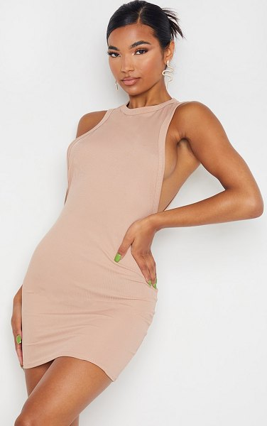 PrettyLittleThing ribbed scoop armhole bodycon dress in stone