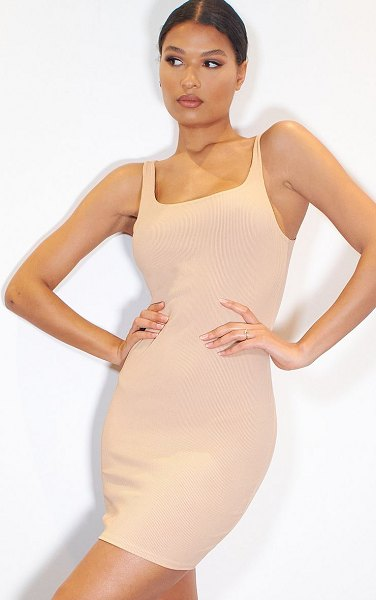 PrettyLittleThing ribbed scoop neck bodycon dress in stone
