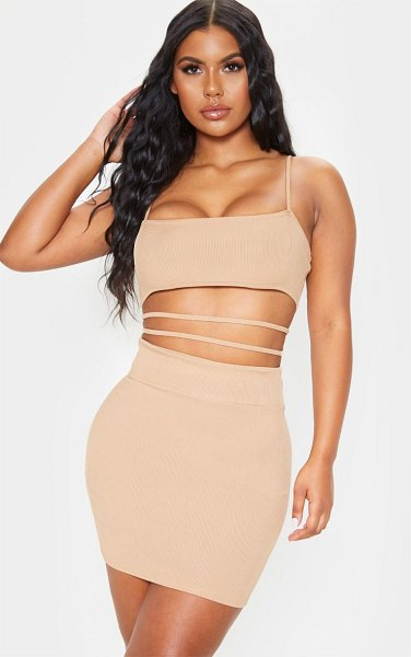 PrettyLittleThing ribbed strappy cut out detail bodycon dress in stone