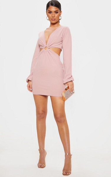 PrettyLittleThing ring detail cut out bodycon dress in blush