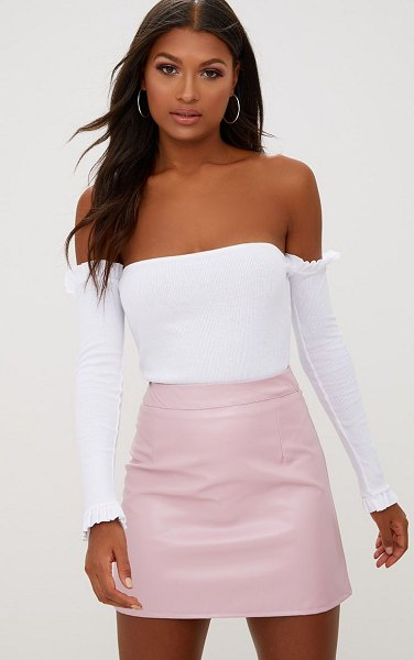 PrettyLittleThing rose faux leather a-line mini skirt in pink
