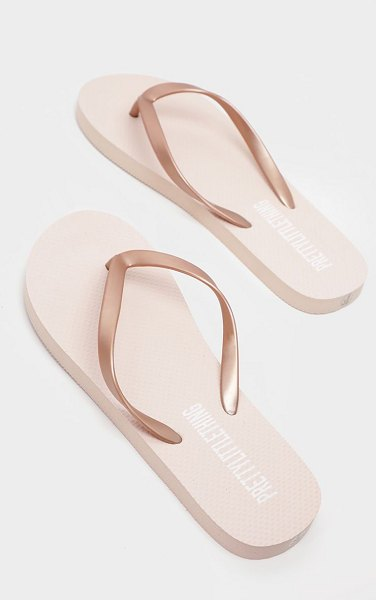 PrettyLittleThing rose gold flip flop in rose gold