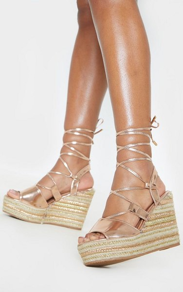 PrettyLittleThing rose gold ghillie lace up espadrille wedge sandal in rose gold