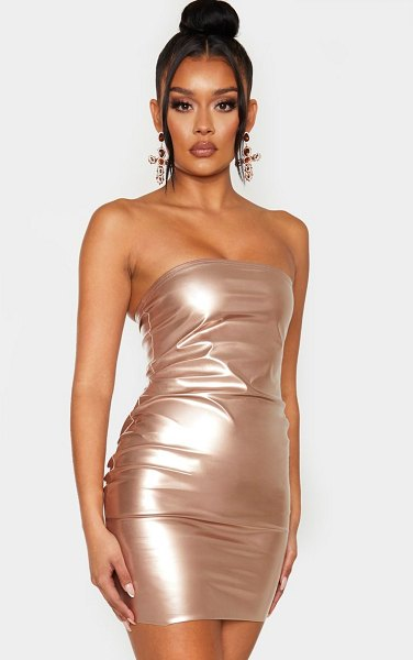 PrettyLittleThing rose gold metallic bandeau bodycon dress in rose gold