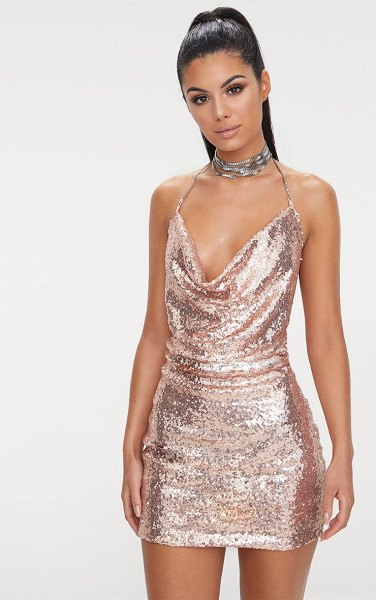 PrettyLittleThing rose gold sequin chain choker mini dress in rose gold
