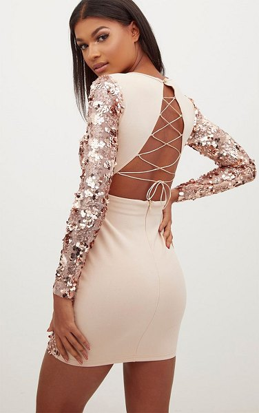 PrettyLittleThing rose gold sequin front long sleeve back tie detail bodycon dress in rose gold