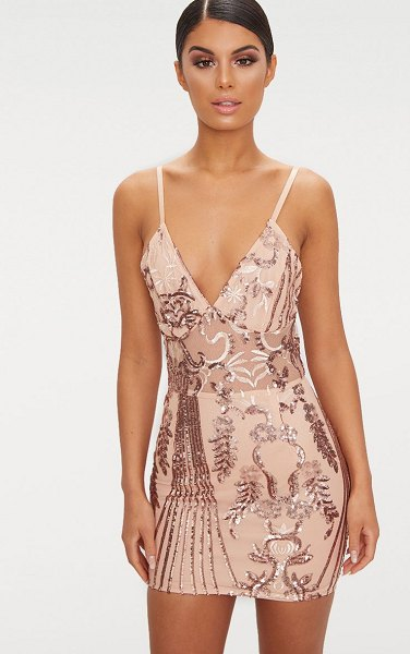 PrettyLittleThing rose gold sheer strappy panel sequin bodycon dress in rose gold - Get the red carpet look girl with this dreamy bodycon...