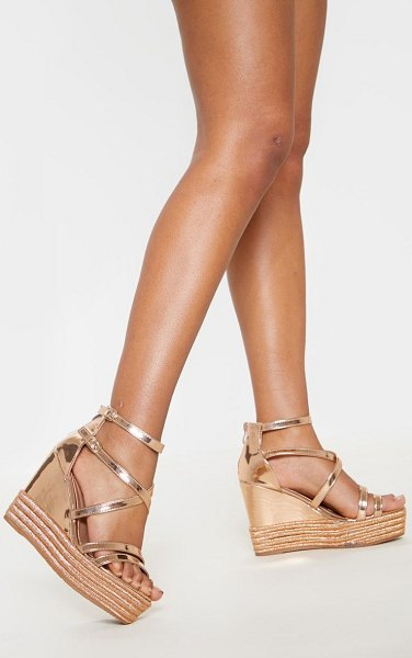 PrettyLittleThing rose gold strappy high wedge in rose gold