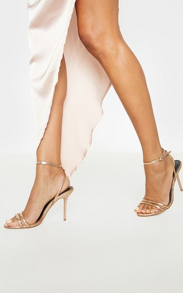 PrettyLittleThing rose gold twin strap tube strappy sandal in rose gold