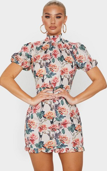 PrettyLittleThing rose print high neck short sleeve bodycon dress in nude