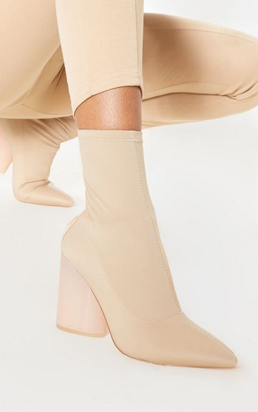 PrettyLittleThing round clear heel sock boot in nude