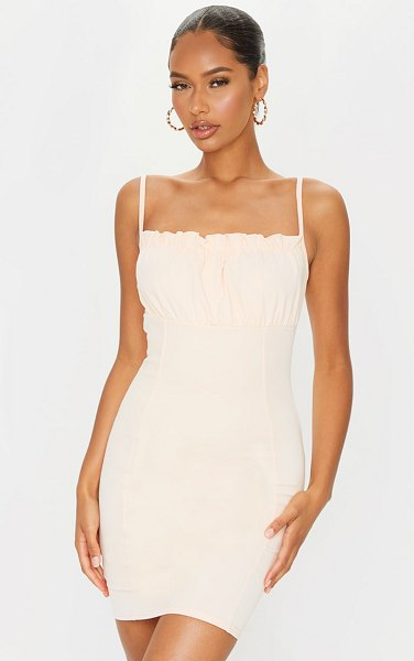 PrettyLittleThing ruched bust strappy bodycon dress in nude