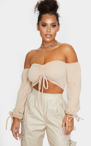 PrettyLittleThing ruched detail bardot long sleeve crop top in sand