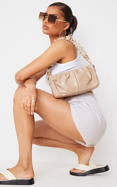 PrettyLittleThing ruched front and handle shoulder bag in sand
