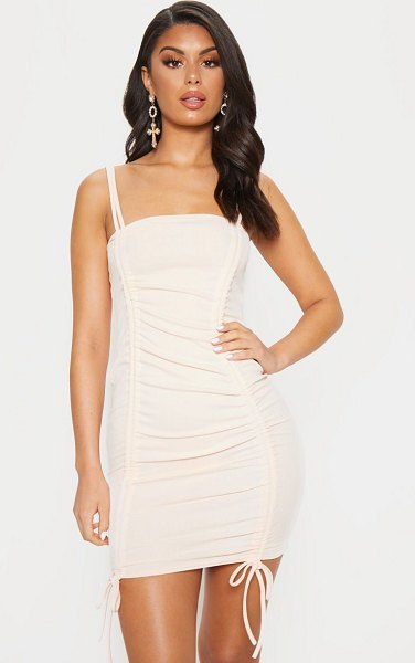 PrettyLittleThing ruched front strappy bodycon dress in peach