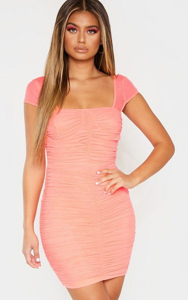 PrettyLittleThing ruched mesh bodycon dress in coral