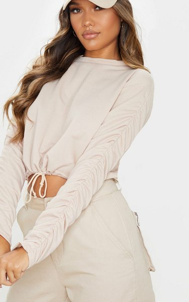 PrettyLittleThing ruched sleeve drawstring crop sweater in sand