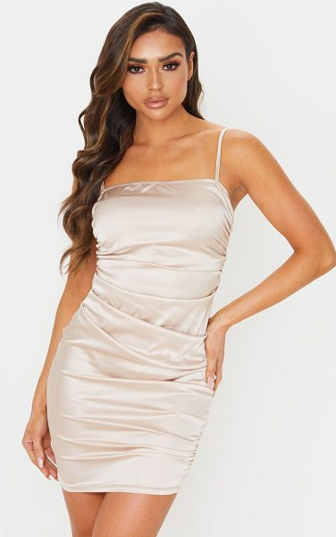 PrettyLittleThing ruched strappy satin bodycon dress in nude