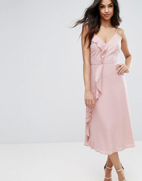 "PrettyLittleThing Ruffle Midi Cami Dress in blush - """"Midi dress by PrettyLittleThing, Lightly textured..."