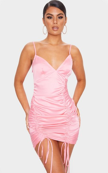 PrettyLittleThing satin double ruched front bodycon dress in pink
