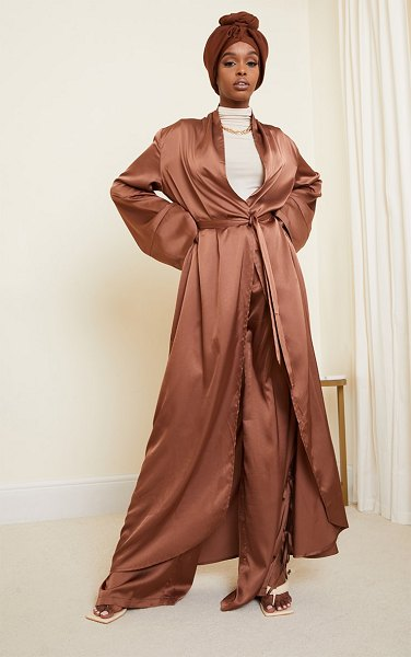 PrettyLittleThing satin flare sleeve duster jacket in chocolate