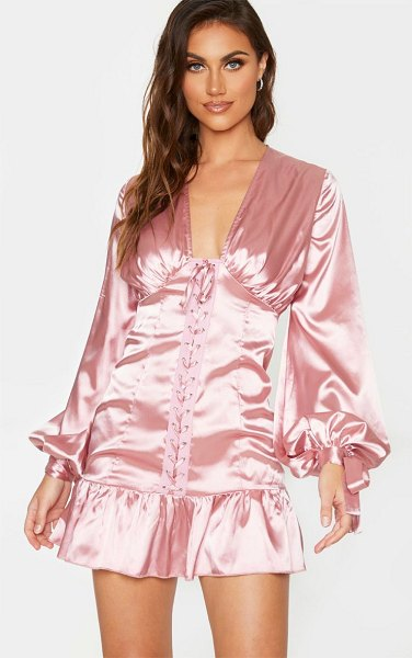 PrettyLittleThing satin lace up frill hem long sleeve bodycon dress in rose