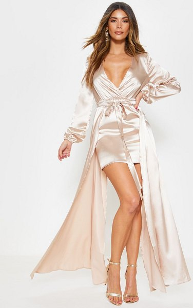 PrettyLittleThing satin plunge 2 in 1 maxi dress in champagne