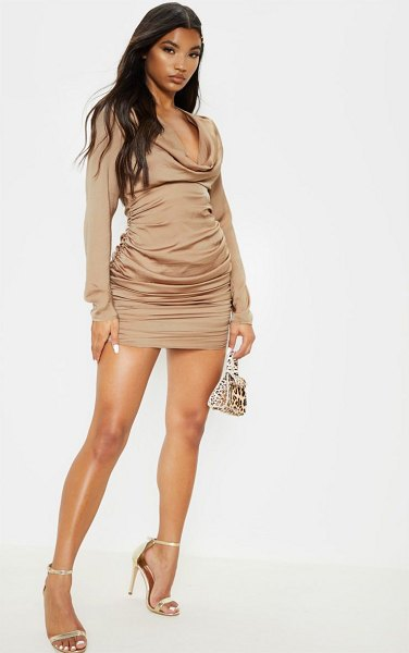 PrettyLittleThing satin shoulder pad cowl neck ruched bodycon dress in taupe