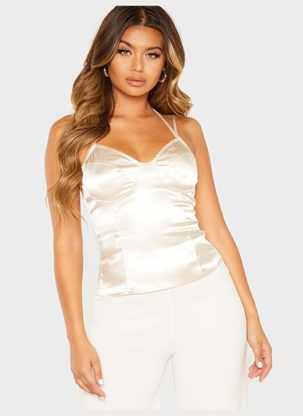 PrettyLittleThing satin strappy cami top in cream