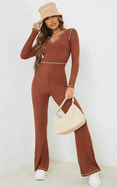 PrettyLittleThing seam detail brushed rib flared jumpsuit in chocolate