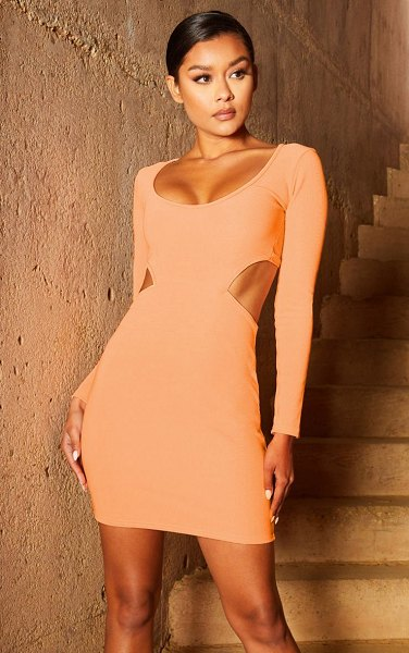 PrettyLittleThing second skin scoop neck cut out side bodycon dress in peach