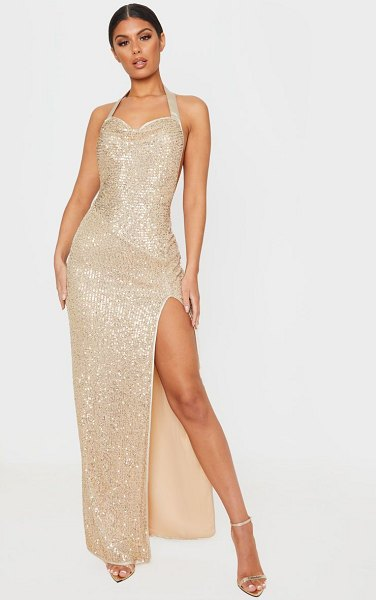 PrettyLittleThing sequin back detail maxi dress in gold