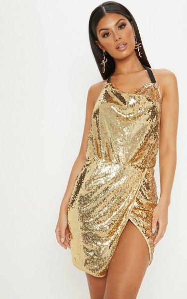 PrettyLittleThing sequin cowl neck bodycon dress in gold