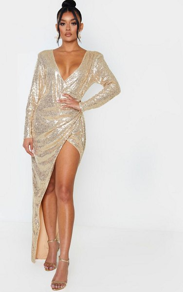 PrettyLittleThing sequin long sleeve plunge wrap detail maxi dress in gold