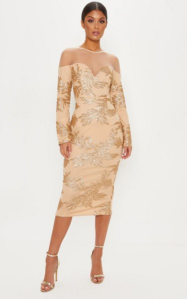 PrettyLittleThing sequin mesh insert midi dress in gold -  nLook every part the star of the show with this midi...