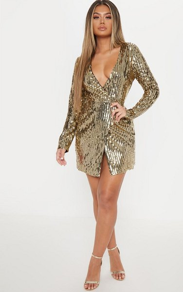 PrettyLittleThing sequin plunge wrap bodycon dress in gold