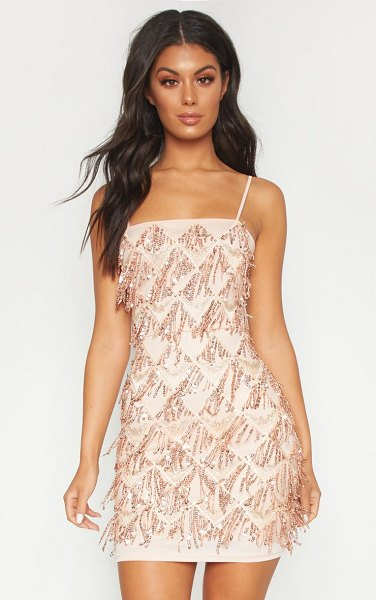 PrettyLittleThing sequin strappy square neck bodycon dress in nude