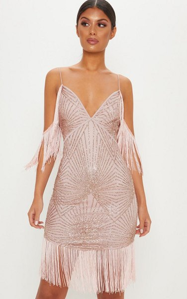 PrettyLittleThing sequin tassel cold shoulder detail midi dress in rose - Sparkle and shine doll in this stand out evening dress...