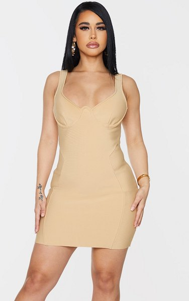 PrettyLittleThing shape bandage cup detail panelled bodycon dress in champagne