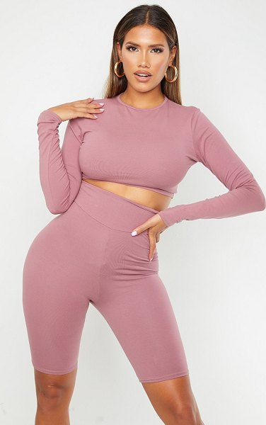 PrettyLittleThing shape cotton long sleeve crop top in mauve
