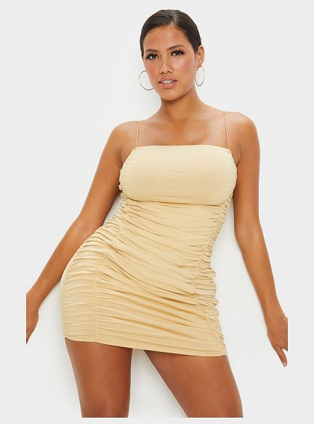 PrettyLittleThing shape cotton spaghetti strap ruched bodycon dress in stone