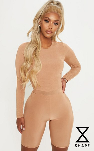 PrettyLittleThing shape dark camel slinky long sleeve bodysuit in dark camel