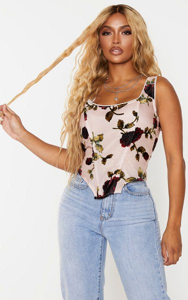 PrettyLittleThing shape dusty pink floral print velvet corset top in dusty pink