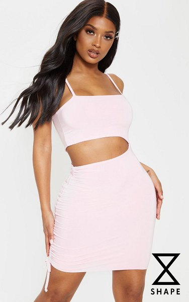 PrettyLittleThing shape dusty pink slinky cut out side ruched bodycon dress in dusty pink