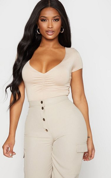 PrettyLittleThing shape jersey ruched short sleeve bodysuit in stone