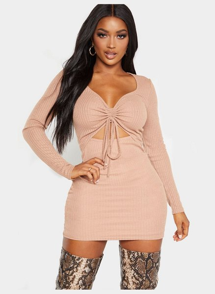 PrettyLittleThing shape knit ruched front cut out midi dress in stone